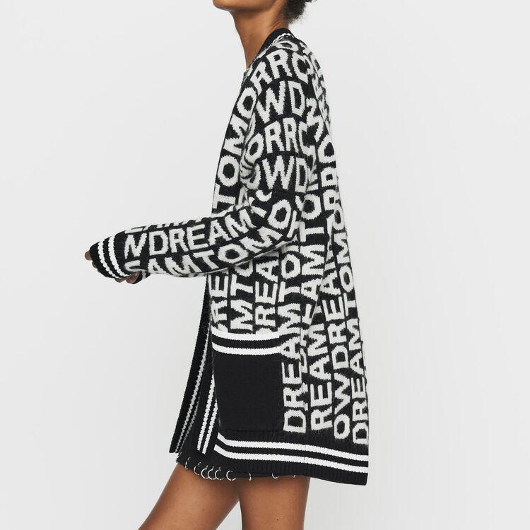 Cardigan oversize en maille fantaisie : Maille couleur Black