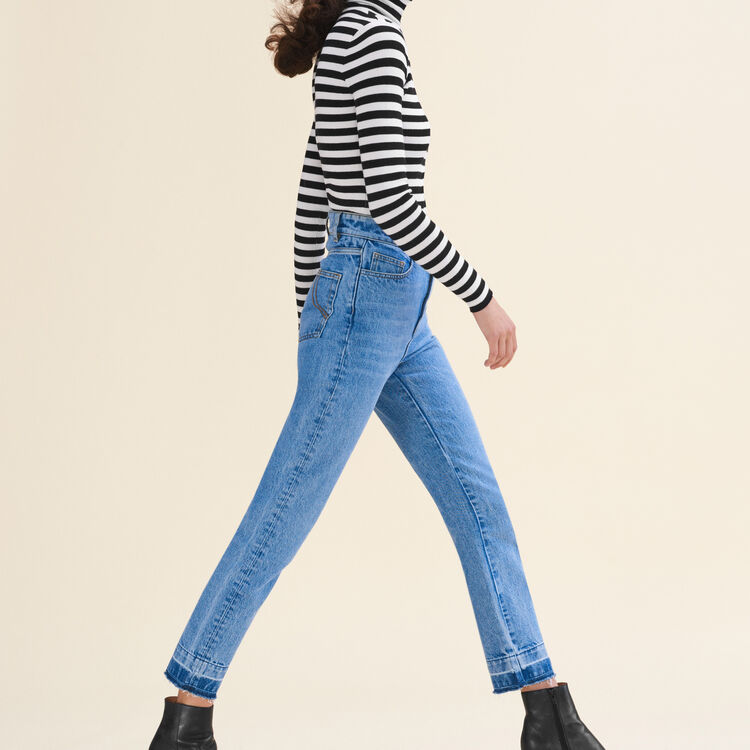 Jean droit délavé : Pantalons & Jeans couleur Bleu