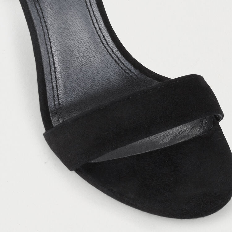 Sandales à talon en suède à boucle : Chaussures couleur Black