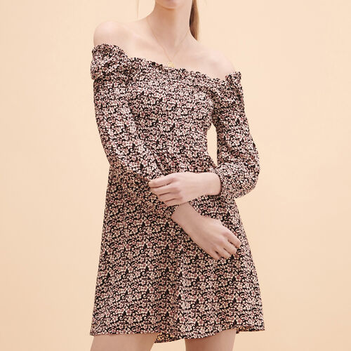 Short dress with floral print : Dresses color PRINTED