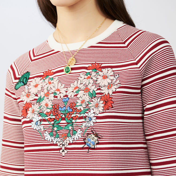 Pull à rayures avec broderies : Maille couleur Rayure
