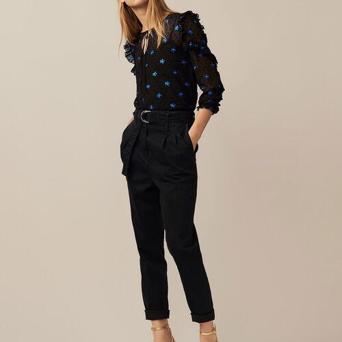 Pleated denim pants : Trousers & Jeans color Black 210