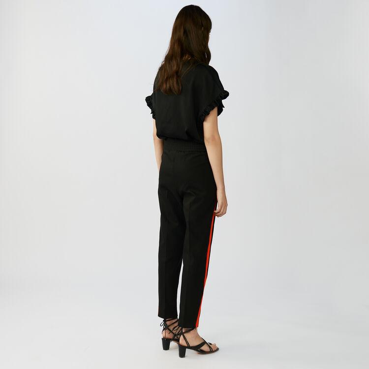 Pantalon droit avec bandes contrastées : Pantalons couleur Black