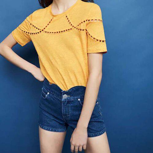 Embroidered linen t-shirt : T-Shirts color Ecru