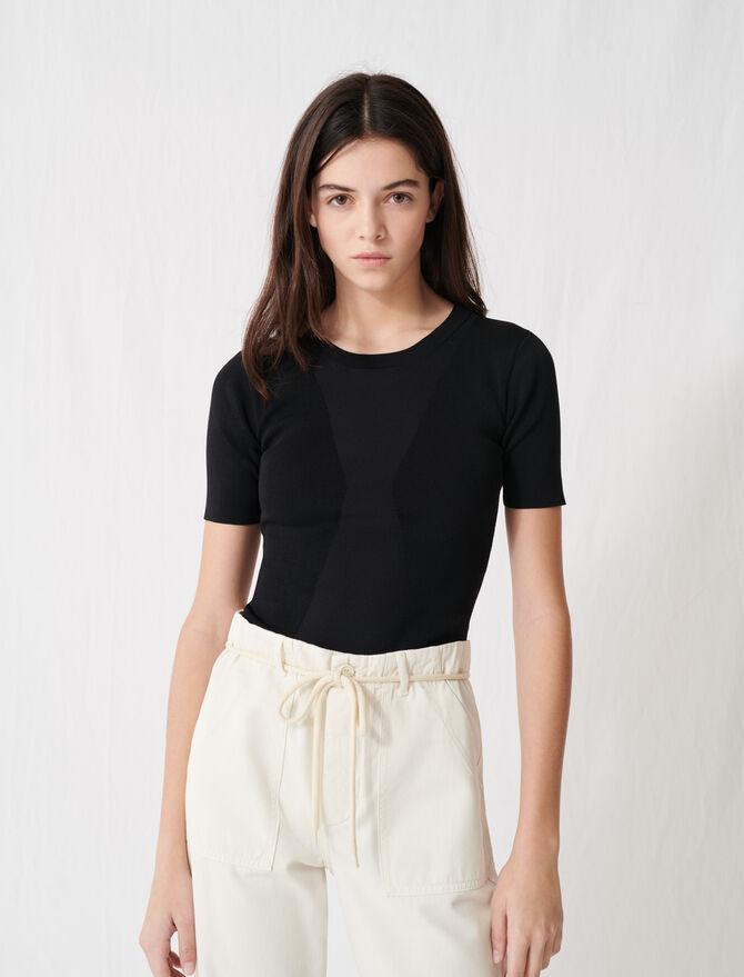 Charcoal black short-sleeved jumper - Pullovers & Cardigans - MAJE