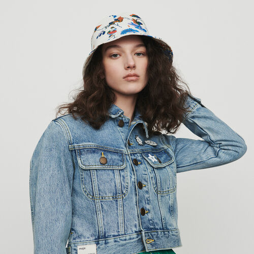Cropped jacket in denim with pins : Blazers color Denim