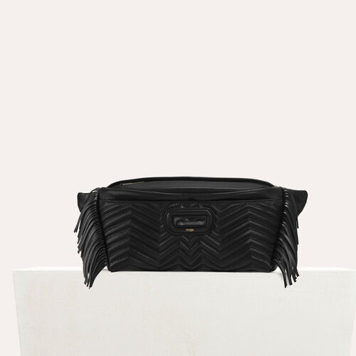 Leather fanny pack with quilted : Other M color Black 210