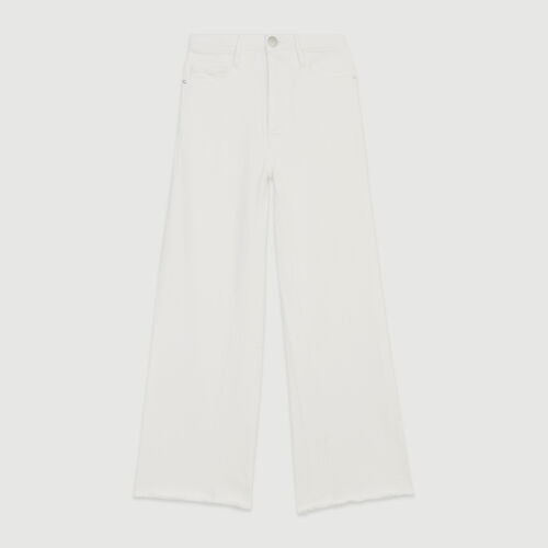 High-waisted wide leg jeans : Jeans color WHITE