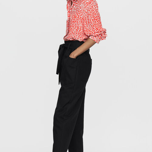Wide high-waist pants : Trousers color Black 210