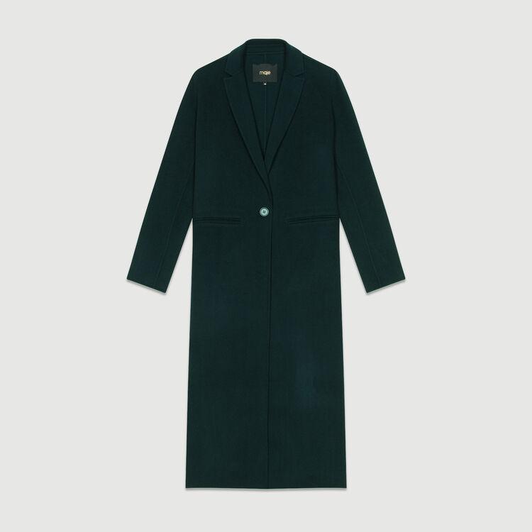 Manteau long en laine double face : Manteaux couleur VERT