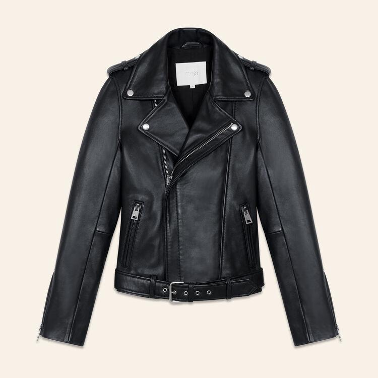 Blouson en cuir avec ceinture : Blousons couleur Black