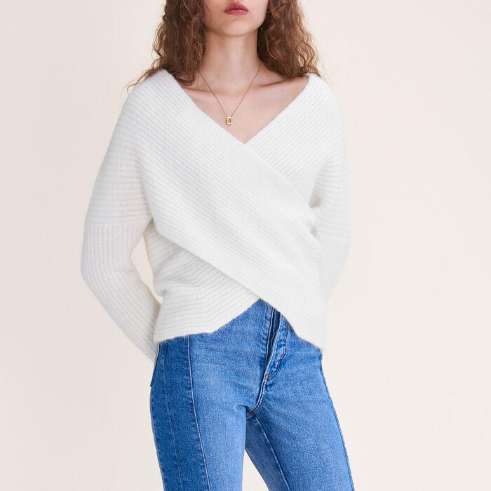 Pull croisé en maille : Pulls & Cardigans couleur ECRU