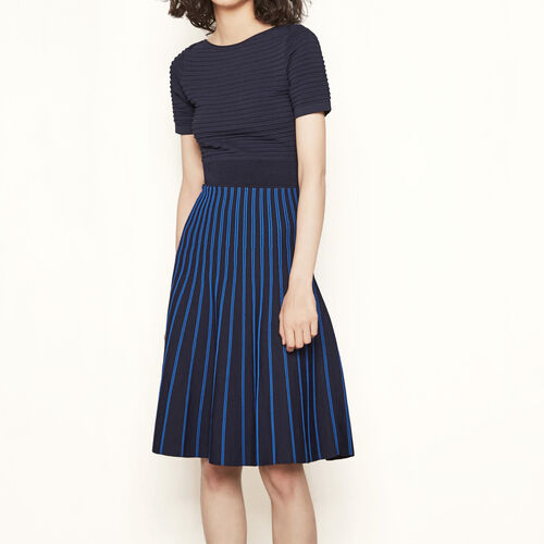 Two-tone striped knit dress : Dresses color BLACK