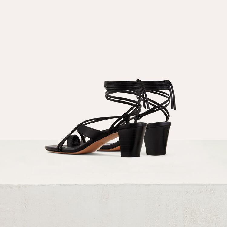 Sandales en cuir avec laçage cheville : Chaussures couleur Black