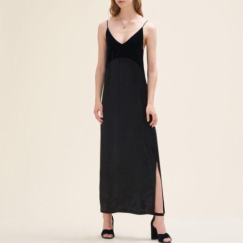 Robe longue bimatière : Robes couleur Marine