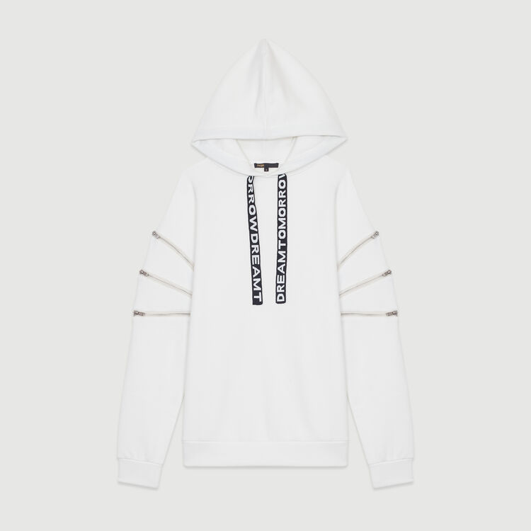 Sweat-shirt à capuche avec multi-zips : Nouvelle Collection couleur Blanc