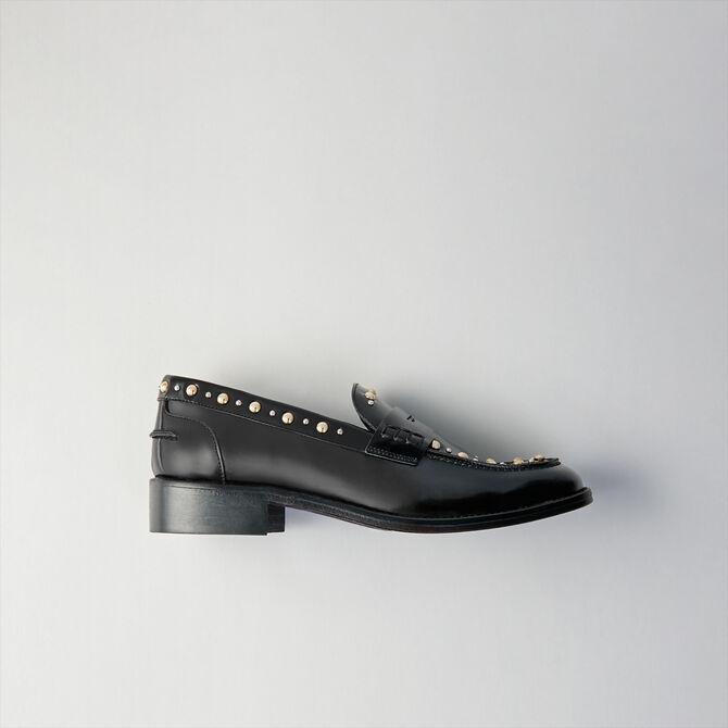 Studded glazed leather moccasins -  - MAJE