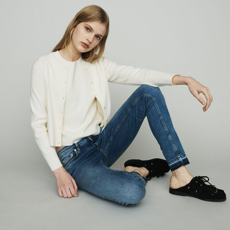 Jean slim en coton stretch : Pantalons & Jeans couleur Denim
