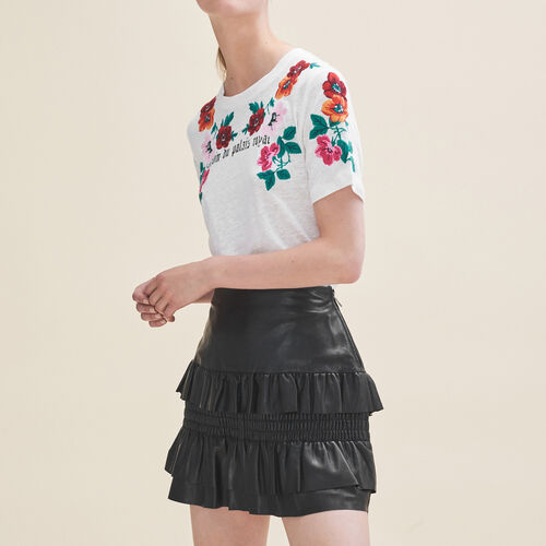 Jupe en cuir à volants : Jupes & Shorts couleur Black