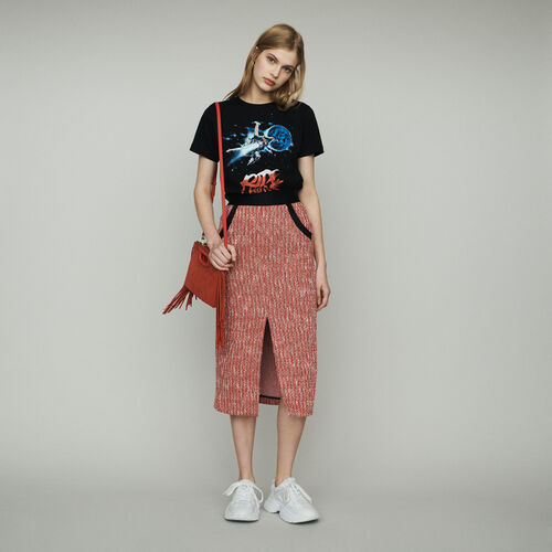 Midi tweed-style skirt : Skirts & Shorts color Red