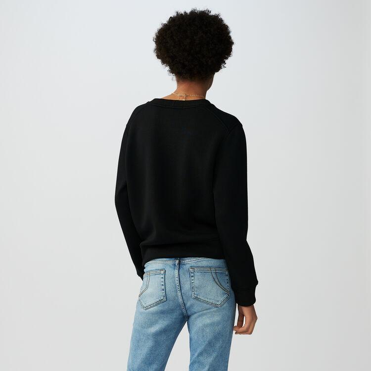 Sweat-shirt en coton avec broderie : Maille couleur Black