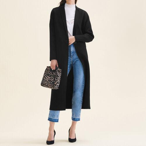 Manteau long en laine double face : Manteaux & Blousons couleur Black