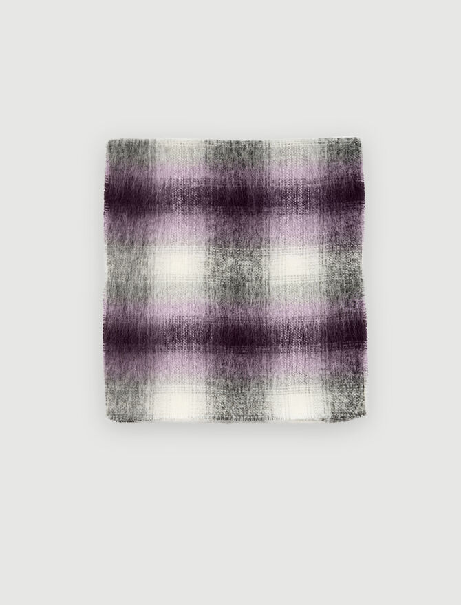 Thick scarf with blurred checks -  - MAJE