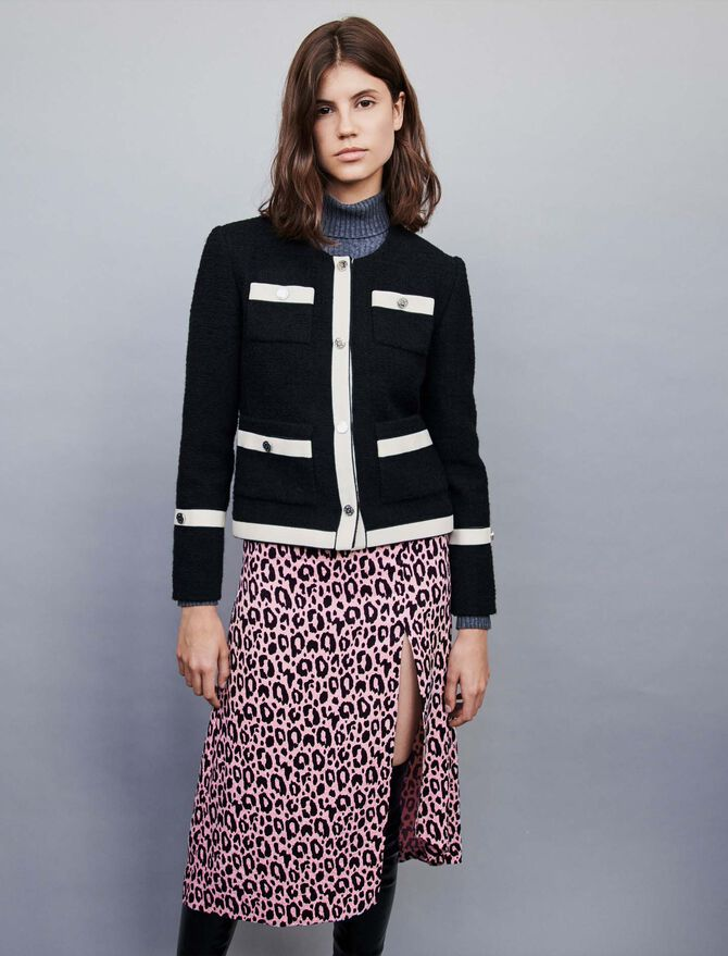 Tweed-style jacket with contrast stripes - Timeless gifts - MAJE
