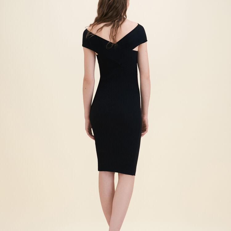 Robe sans manches en maille côtelée : Robes couleur Black