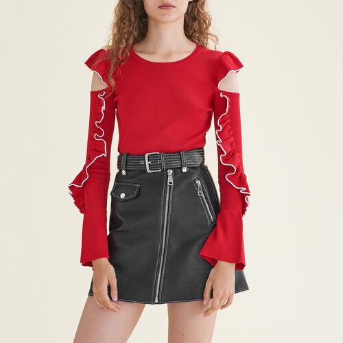 Pull en maille avec épaules dénudées : Pulls & Cardigans couleur Rouge