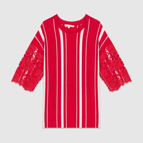 T-shirt à rayures avec manches : Maille couleur ROUGE