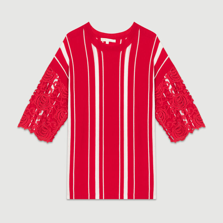 Tee-shirt à rayures avec manches : Maille couleur ROUGE