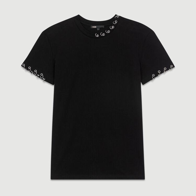 Tee-shirt en coton avec œillets : T-Shirts couleur Black