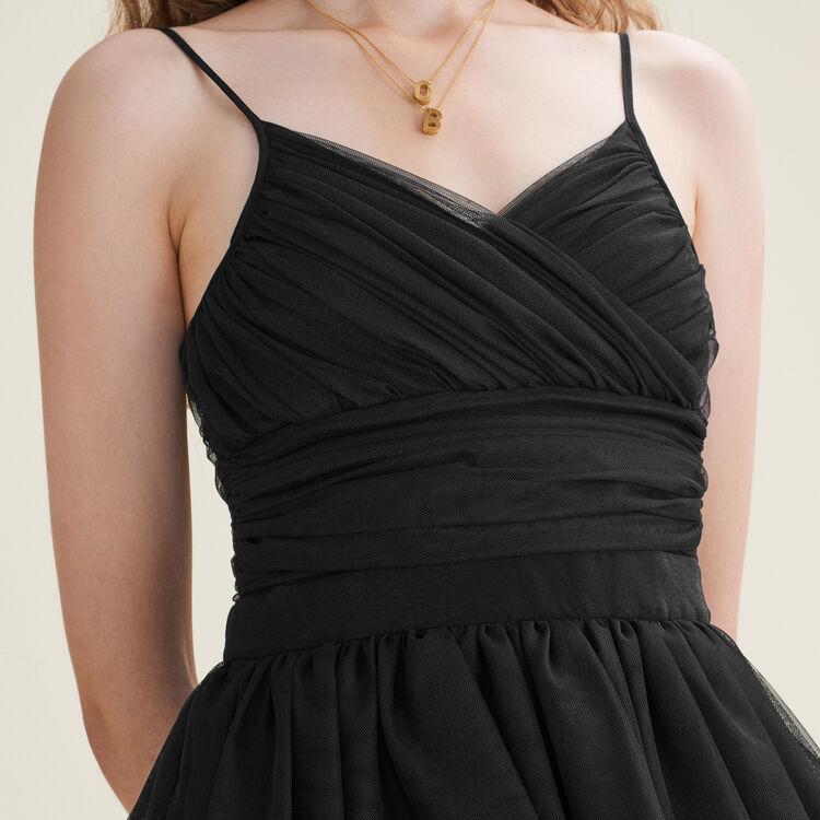 Robe courte volantée en tulle : Robes couleur Black