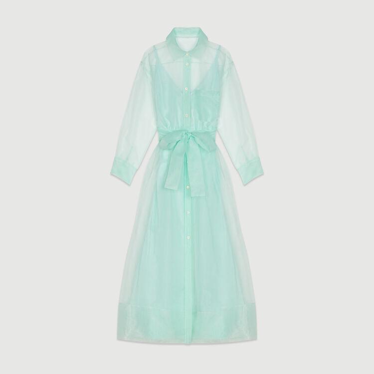 Long organza-style shirt dress : Dresses color Sea Green