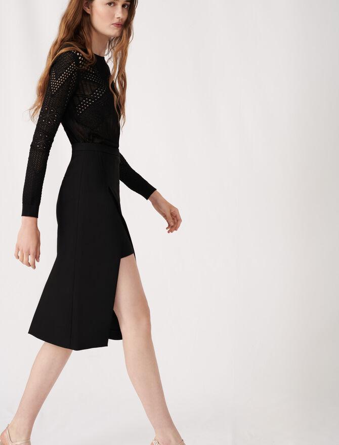 Calf-length split pencil skirt - Skirts & Shorts - MAJE