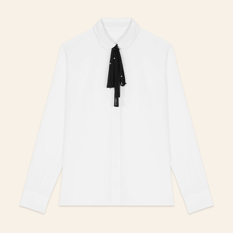Chemisier en soie avec cravate en tulle : Tops couleur Blanc