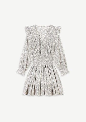 Short floral-print ruffled smock dress