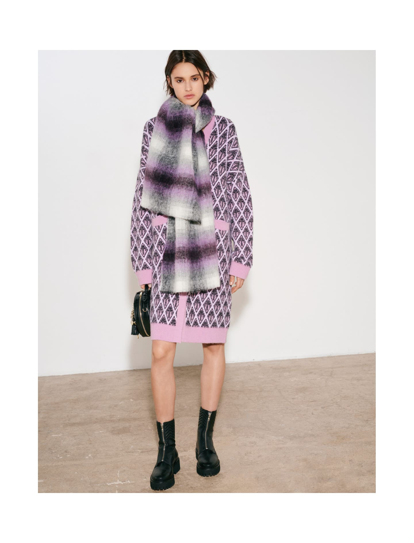 Thick scarf with blurred checks - Shawls & Ponchos - MAJE