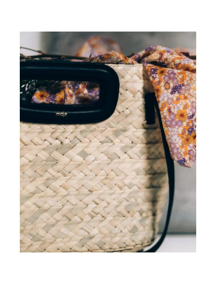 Basket bag in raffia and leather - New collection - MAJE