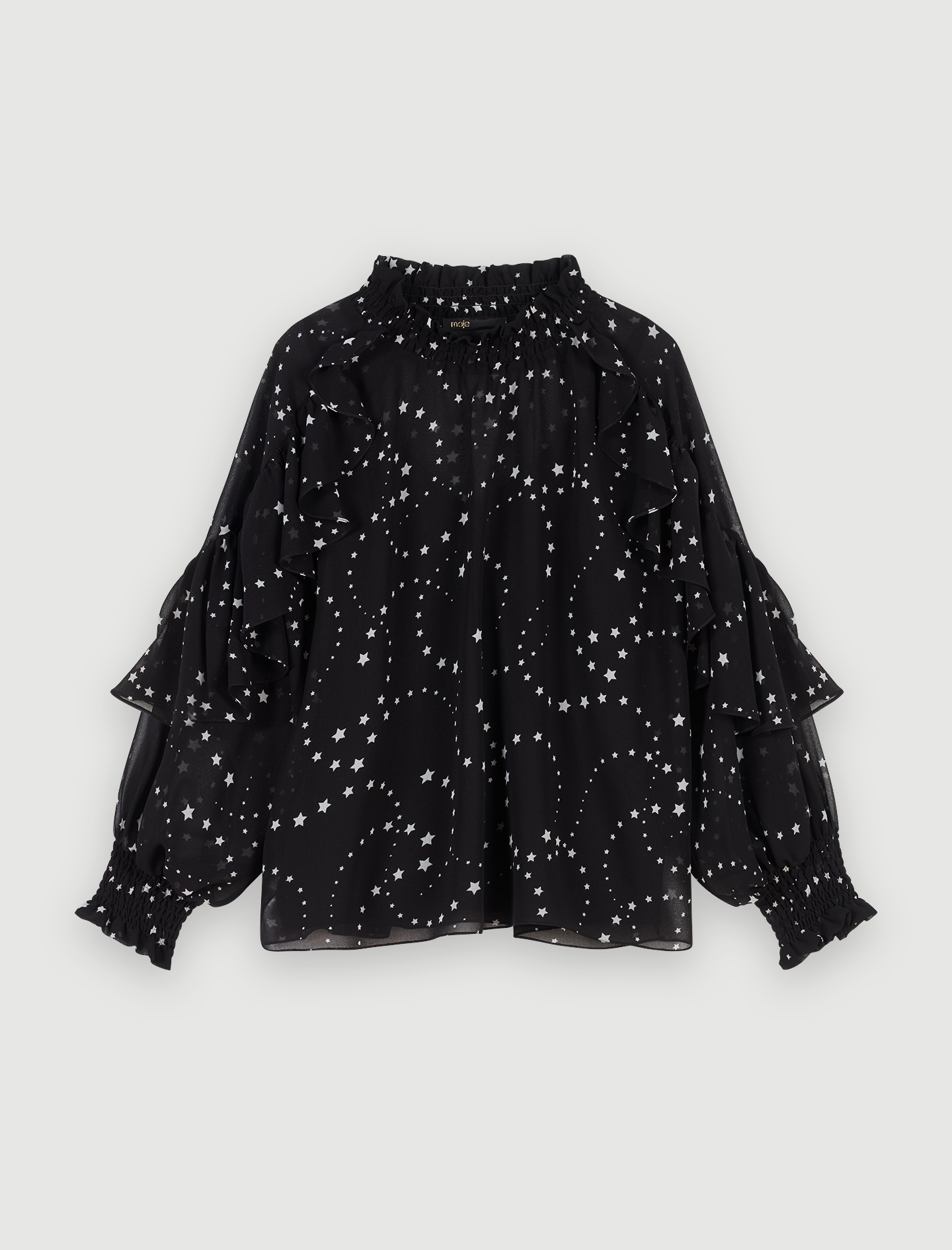 Printed-muslin ruffled top - Tops & Shirts - MAJE
