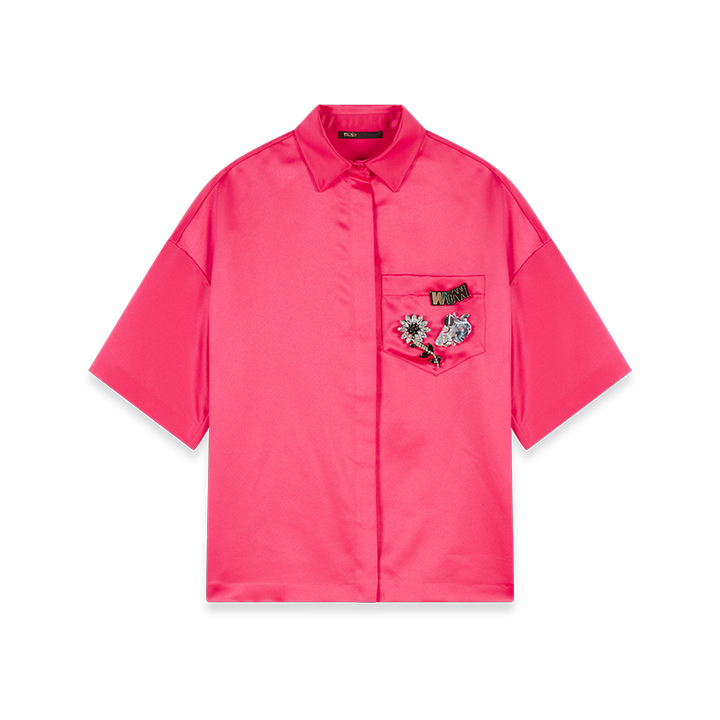 Satin shirt with jeweled pocket - Tops & Shirts - MAJE