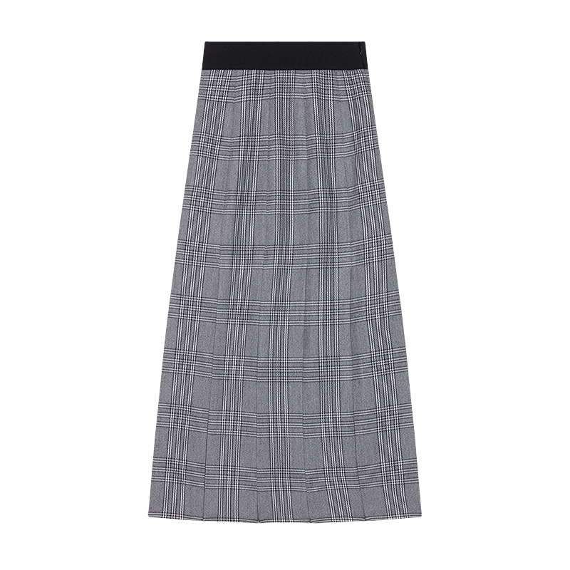 Long Prince of Wales check cutout skirt - Ready to wear - MAJE