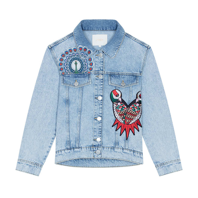 Embroidered denim vest - Blazers - MAJE